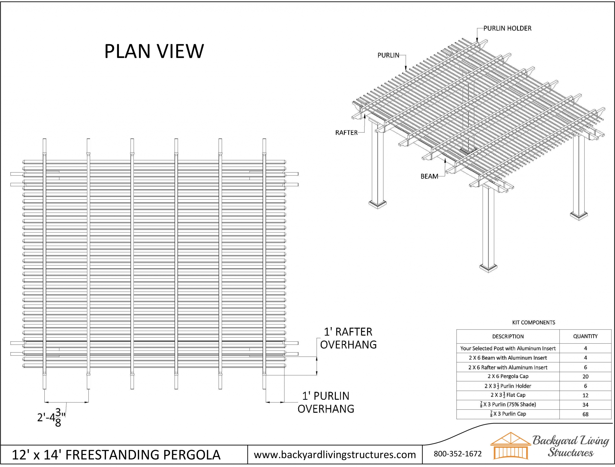 Freestanding pergola plan view